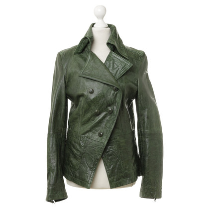 Drykorn Leather jacket in green