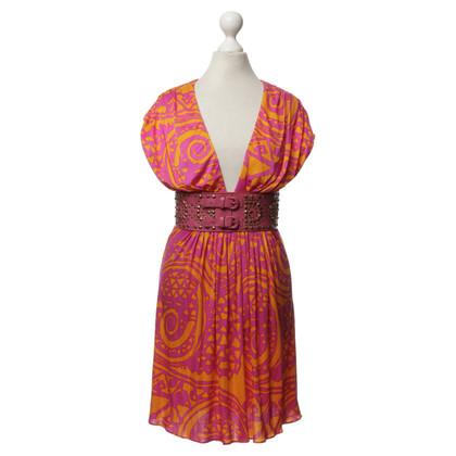 Sky Silk dress with pattern