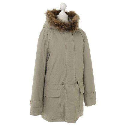 IQ Berlin Green down coat with fur