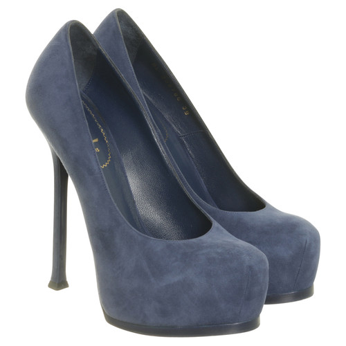 4f4025f4 Yves Saint Laurent Blue Suede heels - Second Hand Yves Saint ...