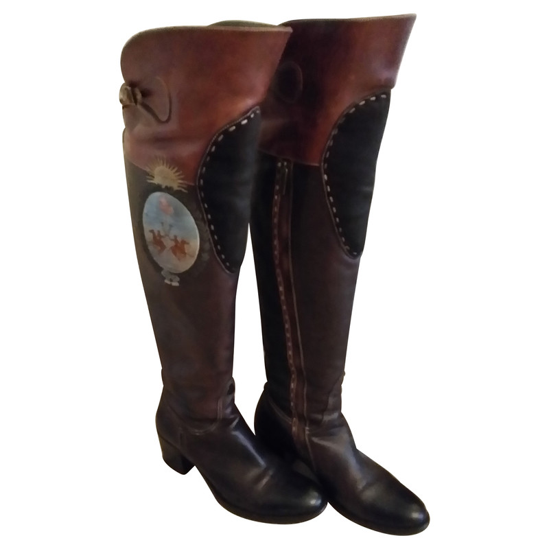 la martina overknee boots from leather buy second hand. Black Bedroom Furniture Sets. Home Design Ideas