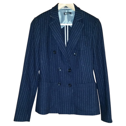 IQ Berlin Blazer in lana con colletto in pelle