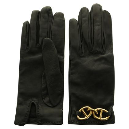 Hermès Guanti di cuoio nero