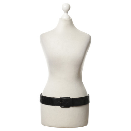 Miu Miu Ruffled patent leather belt