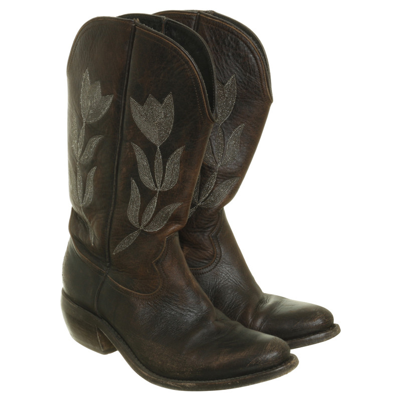 Golden Goose Brown leather cowboy boots