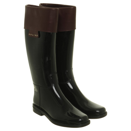 Céline Rubber boots with leather trim