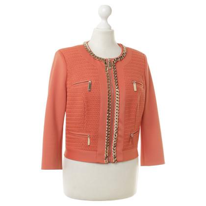 Elisabetta Franchi Orangefarbene Jacke mit Kettendetails