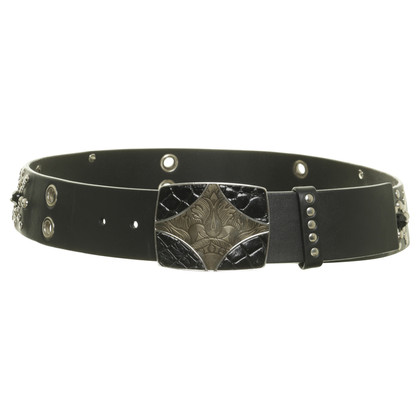 Prada Black belt with studs trim