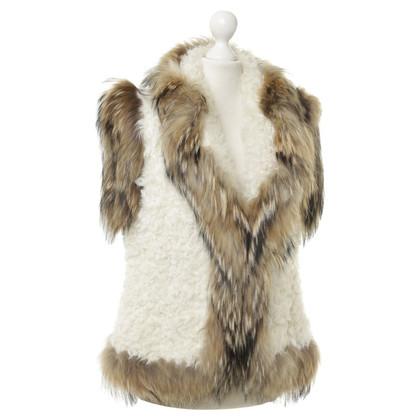 Altre marche Gilet di pelle di pecora con pelliccia trim