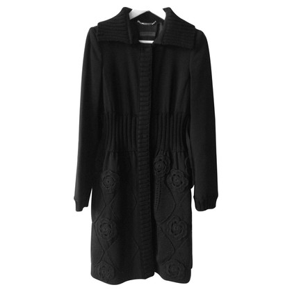 Alberta Ferretti Black Wool Coat