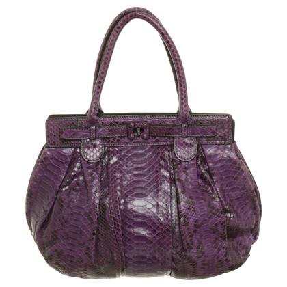 Zagliani Pythonledertasche in Violett
