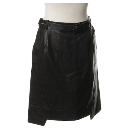 Preen Leather skirt with chain detail