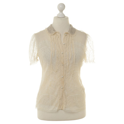 Blumarine Camicia in pizzo con perline trim
