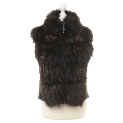 Other Designer Annvy - leather vest with fur trim