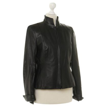 Akris Lederen jas in zwart