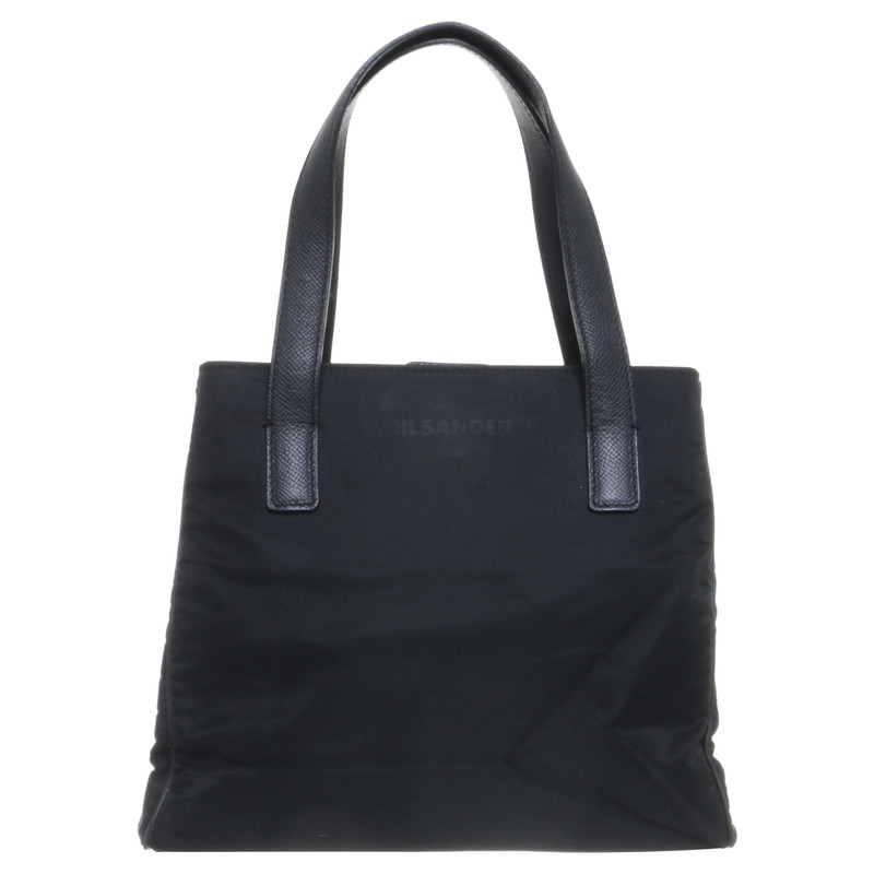 jil sander henkeltasche in schwarz second hand jil. Black Bedroom Furniture Sets. Home Design Ideas