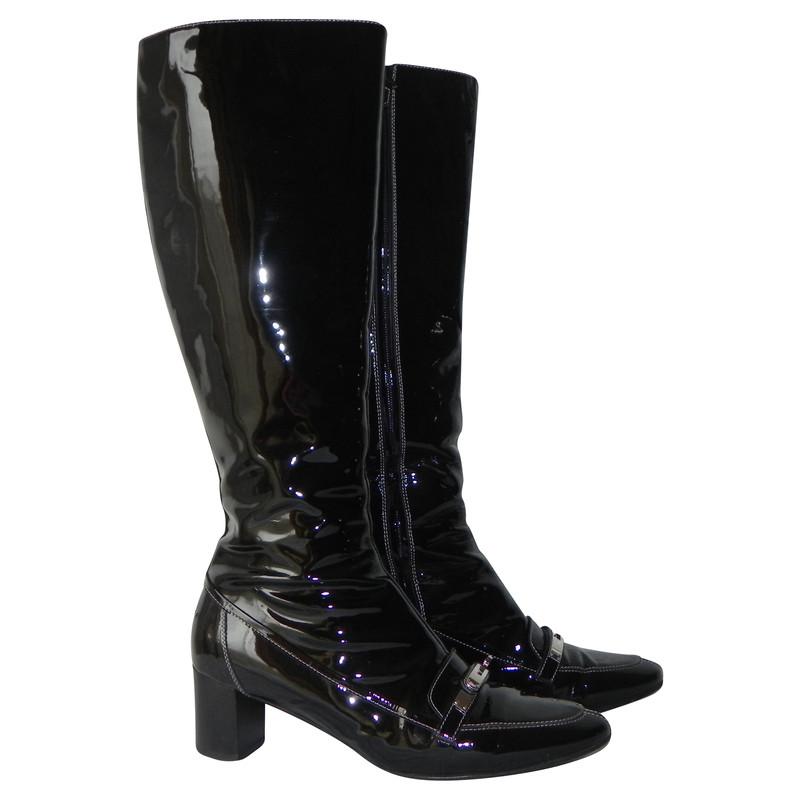 Hermès Boots patent leather
