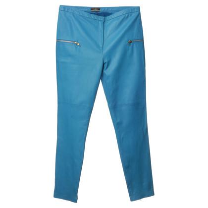 """By Malene Birger Leather pants """"Salih"""" in blue"""