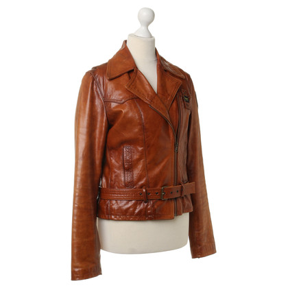Blauer USA Leather jacket in Cognac