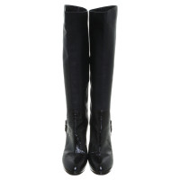 Sergio Rossi Leather boots with enamel top