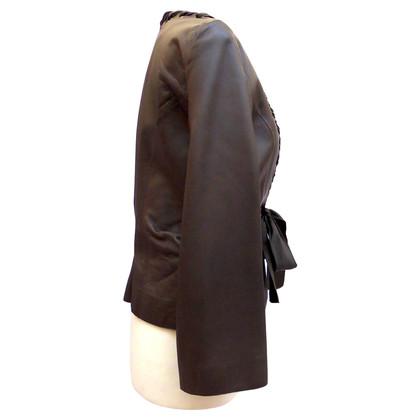 Giorgio Armani Lederen jas met satijnen lint