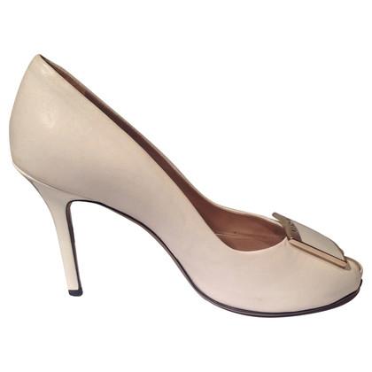 Versace Cream peep-toes