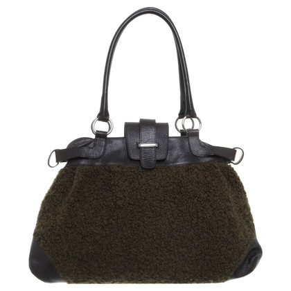 Marc Cain Tote in olive and dark brown