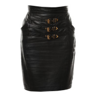 Gianni Versace Leather skirt with metal closure
