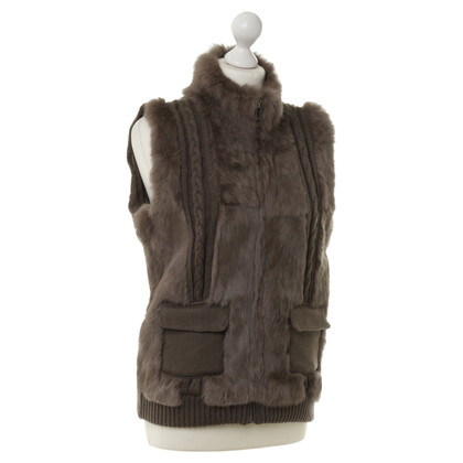 Oakwood Knitted vest with fur trim