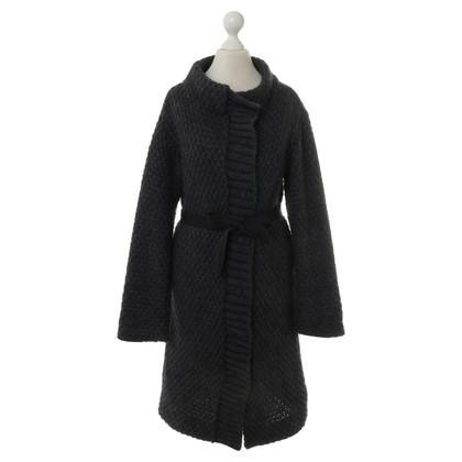 Patrizia Pepe Knitted coat in dark blue