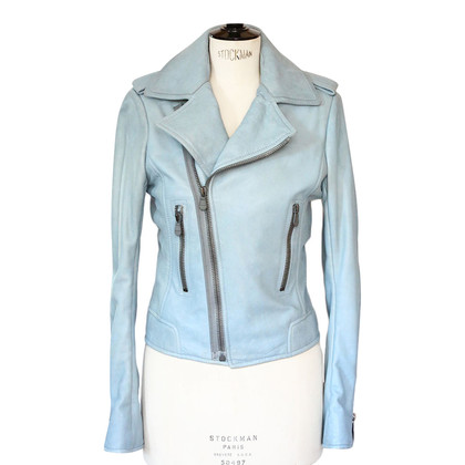 Balenciaga Giacca in pelle blu chiaro