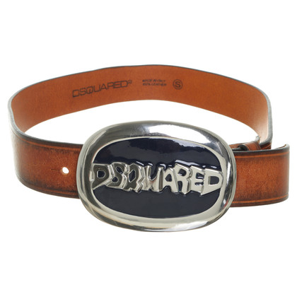 Dsquared2 Brown leather belt with large buckle