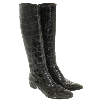 Gianni Barbato Shiny leather boots with crocodile embossing