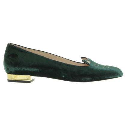Charlotte Olympia Dark Green Velvet Slipper with cat face