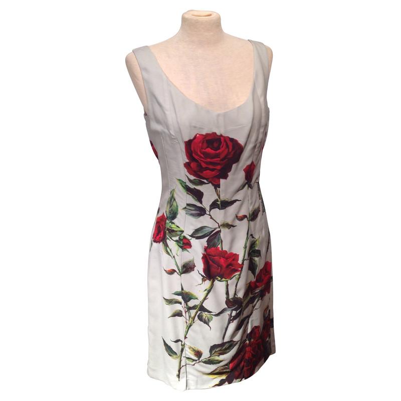 dolce gabbana kleid mit rosenmuster second hand dolce