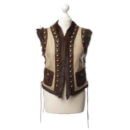 Chips Gilet in pelle con rivetti
