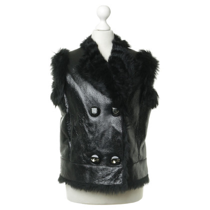 Prada Leather vest with fur