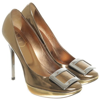 Roger Vivier Patent leather pumps with metallic-look