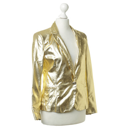 Faith Connexion Leather Blazer in gold metallic