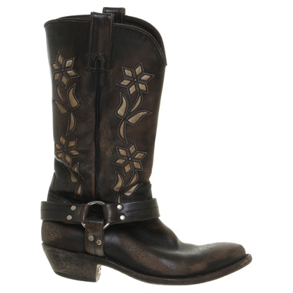 Golden Goose Cowboy boots with flower motif