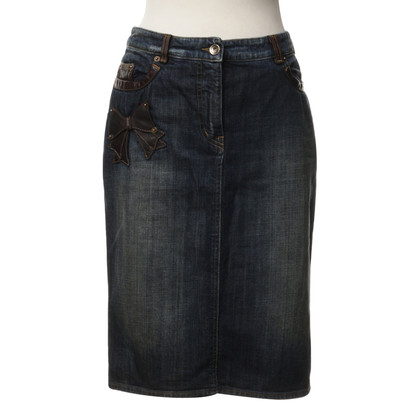 Moschino Denim skirt with leather trim
