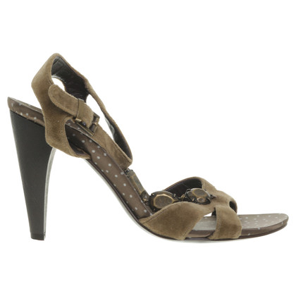 Boss Orange Velvet sandal in olive