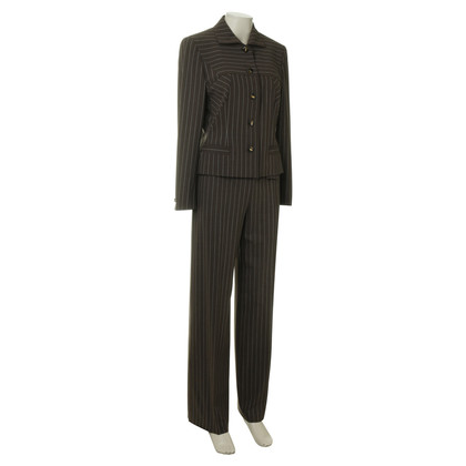 Escada Brown trouser suit with pinstripes