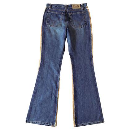 D&G Jeans mit Leder-Einsätzen