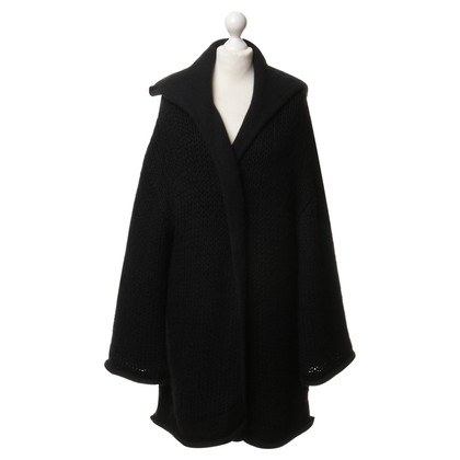 Yohji Yamamoto Reversible knitted coat in dark blue