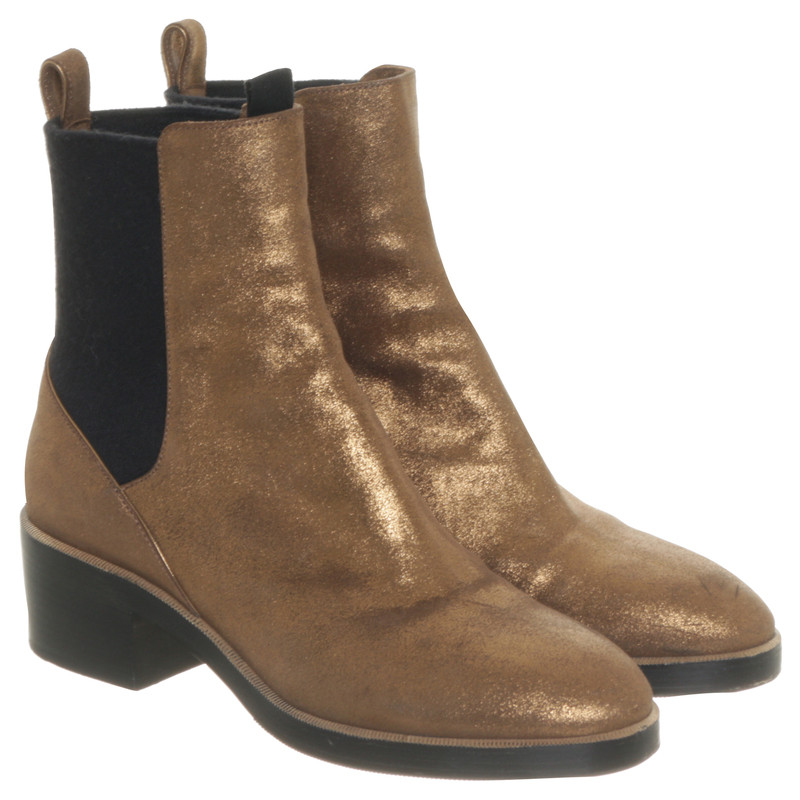 Dries van Noten Chelsea boots in gold - Buy Second hand Dries van ...