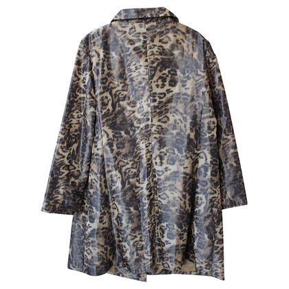 Barbara Schwarzer Animal print skirt suit with trench coat