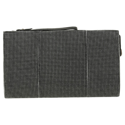 Pura Lopez Samtclutch from black and white Houndstooth