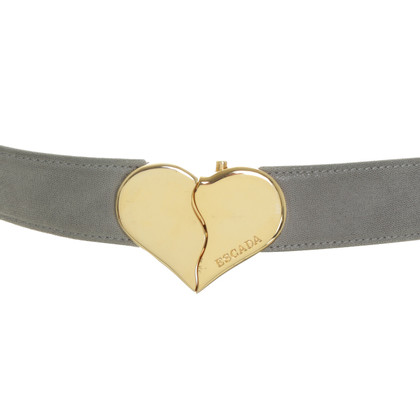 Escada Leather belt of grey with heart buckle