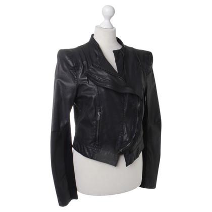 BCBG Max Azria Leren jas in zwart